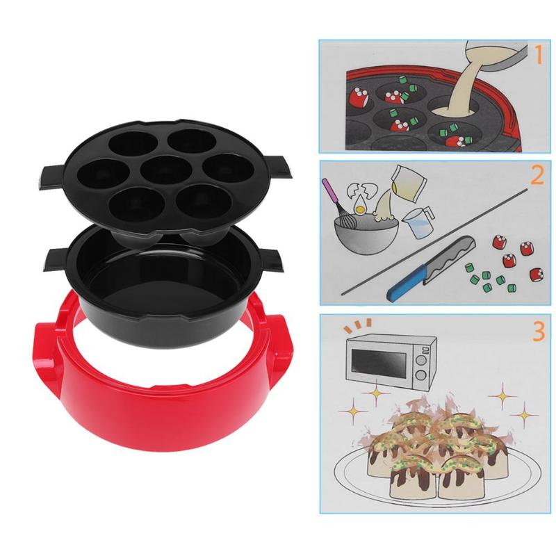 2 Tier Microwave Ovens Cooking Steamer with Lid 6 Grids Ball Pizza Cake Pan Steamer Vegetable Bowl Basket Kitchen Tools