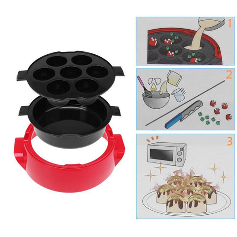 Image of 2 Tier Microwave Ovens Cooking Steamer with Lid 6 Grids Ball Pizza Cake Pan Steamer Vegetable Bowl Basket Kitchen Tools