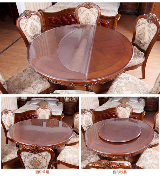 Round Tablecloth PVC Waterproof Oil Proof Transparent Round Table Mats  Crystal Plate Soft Glass Table