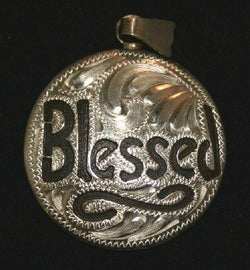 Blessed Pendant - Brown Iron and Silver Etched Overlay Pendant