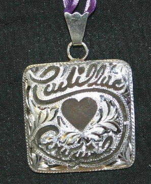 Cadillac Cowgirl Pendant - Brown Iron with Silver Etched Design Overlay