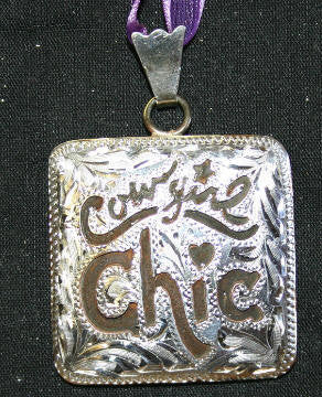 Cowgirl Chic Pendant - Brown Iron Pendant with Silver Etched Design