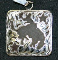 Iron Bronc Pendant - Brown Iron Pendant with Silver Etched Overlay