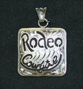 Rodeo Cowgirl Pendant - Brown Iron with Silver Etched Design Pendant