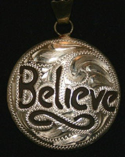 Believe Pendant - Brown Iron and Silver Etched Overlay Pendant