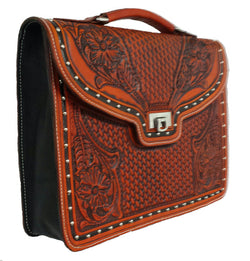 Combo Basket and Floral hand tooled leather briefcase. 15x13x4