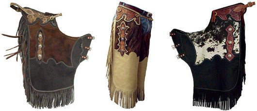 FLORAL TOOLED COWHIDE/LEATHER CHINKS Tan - Black - Brown