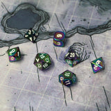 "Oil style metal dice on 1"" battlemap."