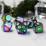 Chrome color dice set on a table.