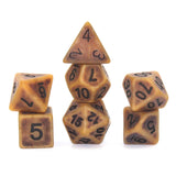 Antique Brown-Gold plastic dice - full set.