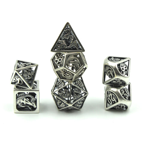 Metal Antique Sterling Silver Dragon Cage Dice Set