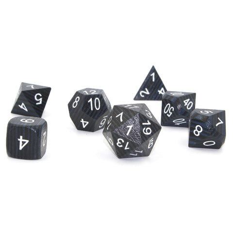 Blue & Black Technical Wood Wooden Dice Set