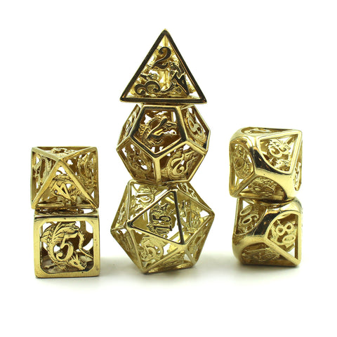 Metal Brass Dragon Cage Dice Set