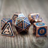 Copper & Blue | Plated Metal Dice Set (7) | Dungeons and Dragons (DnD) | Tabletop RPG Gaming