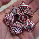 Red & silver | Plated Metal Dice Set for Dungeons and Dragons (DnD)