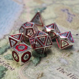red gold metal dice set for dnd - great gift for fans of Dungeons and Dragons, Critical Role, or any d20 rpg