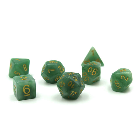 Deep Jade Polymer Dice Set