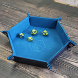 Rolling Tray Metal Dice Holder Storage Box for RPG DND Table Games, Pentagonal PU Leather and Velvet Blue