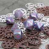 Metal Digital Blue & Purple Dice Set on Gears