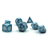 Metal Dragon Scaled Blue Dice Set for d&d