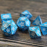 Dice set inspired by blue dragon scales.