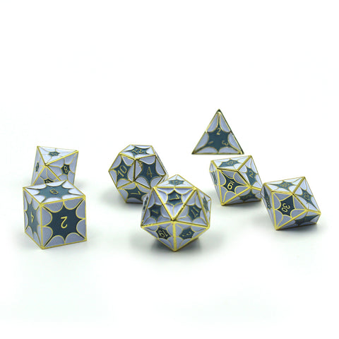 DragonScale Dice Set with gold numbers.