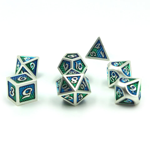 Metal DragonSkin Green Dice Set with Display Box