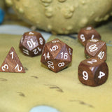 Ebony & White Ink Wooden Dice Set