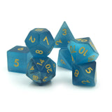 Blue Cats Eye Dice Set - resembles a cats eye.