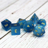 Blue Cats Eye Dice Set