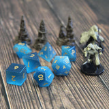 Blue Cats Eye Dice Set for D&D and tabletop games.