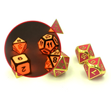 Metal Red & Gold Glow in the Dark Dice Set