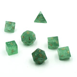 Gemstone Green Fluorite Dice Set  from above