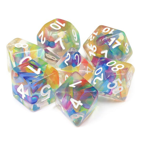 Rainbow Ribbon Polymer Dice Set