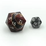 33mm D20 Orange Technical Wood with normal dice to compair