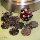 Stripped Technical Wood d20 with Character Coins