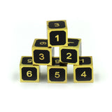 Metal Black and Gold 6d6 Dice Set