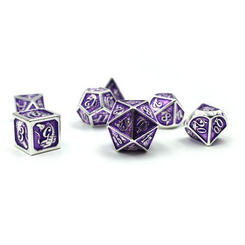 Metal Purple & Silver Dragon Dice Set with Display Box