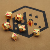 Reds and Yellow Metal Dice Set. Color Mixed.