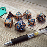 Metal Blue & Copper Dragon Dice Set with Display Box