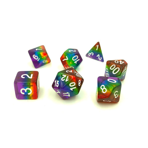 Rainbow Translucent Layer Polymer Dice Set