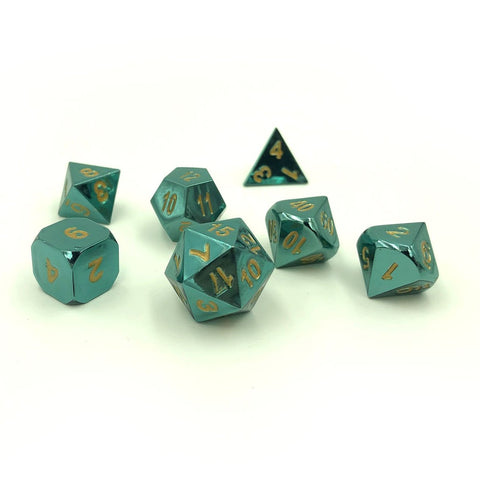 Metal Radiant Azure Green Dice Set