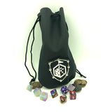 Leather Pouch Coin Dice Bag Black Standing