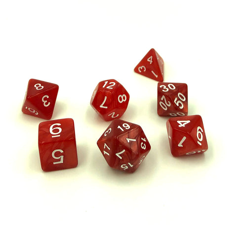 Pearl Red Plastic Dice Set