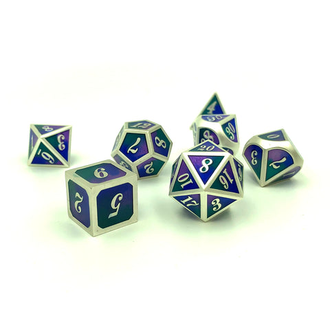 Metal Tri-Color Imperial Twilight Blue Metal Dice Set
