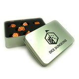 Metal Imperial Pumpkin Orange Dice Set with Display Box