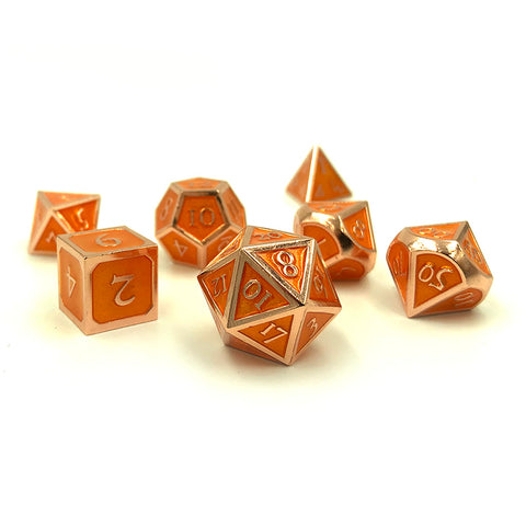 Metal Orange Dice Set for Dungeons and Dragons