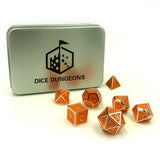 Metal Pumpkin Orange Dice Set with Display Box