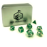 Metal Digital Cypher Green Dice Set with Display Box