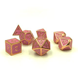 Metal Imperial Swirl Pink and Gold Dice Set for D&D